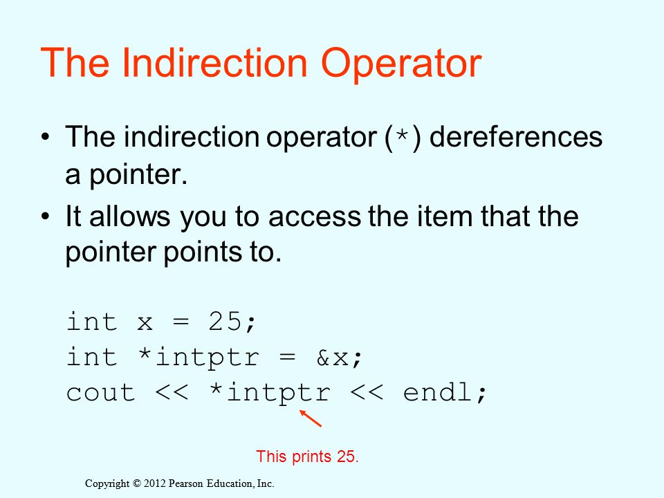 The Indirection Operator The indirection operator ( * ) dereferences a pointer.