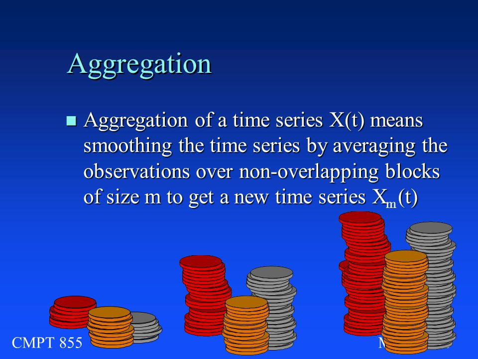 CMPT 855Module Aggregation n Aggregation of a time series X(t) means smoothing the time series by averaging the observations over non-overlapping blocks of size m to get a new time series X (t) m