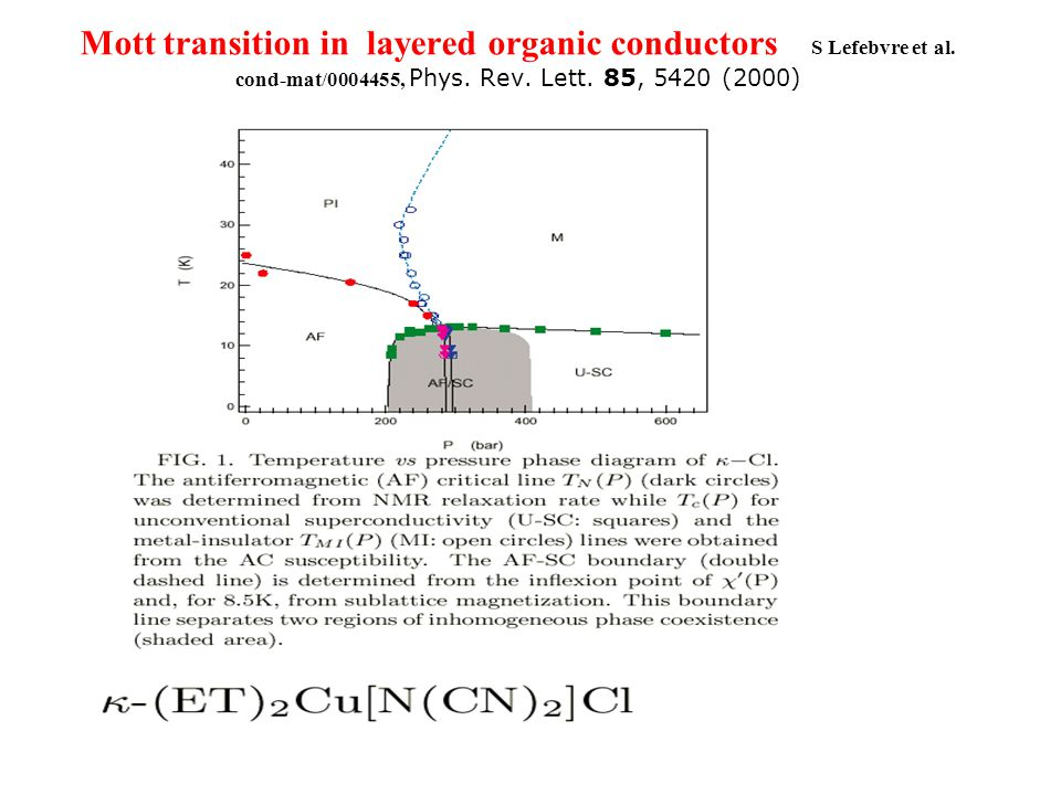 Mott transition in layered organic conductors S Lefebvre et al.