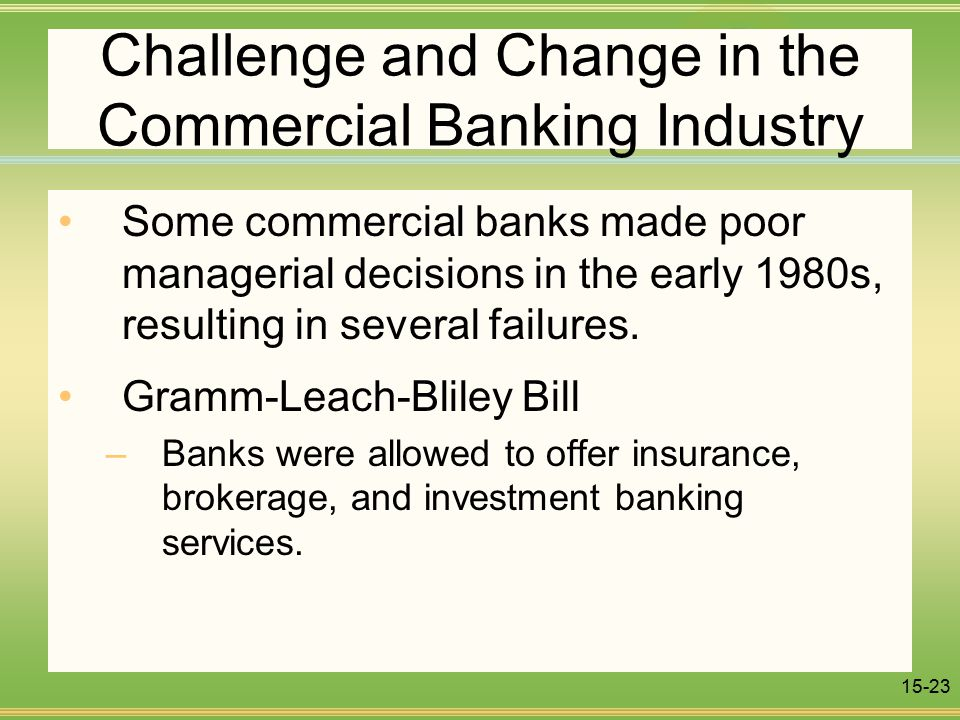 15-23 Challenge and Change in the Commercial Banking Industry Some commercial banks made poor managerial decisions in the early 1980s, resulting in several failures.