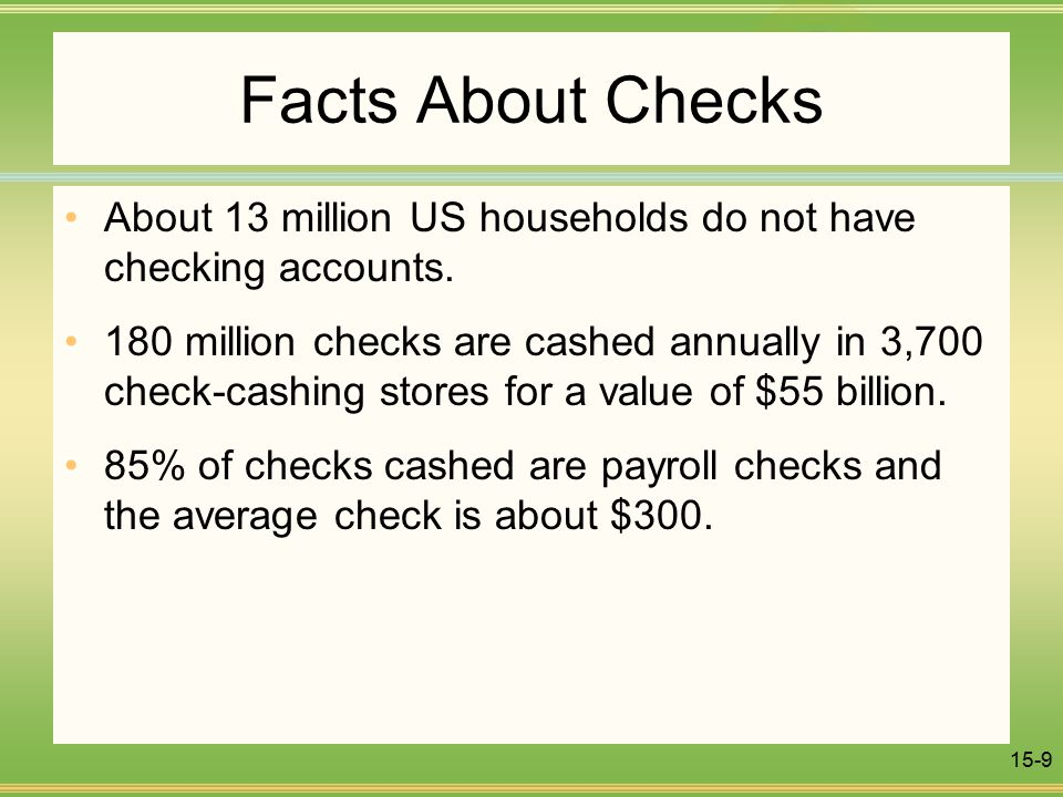 15-9 Facts About Checks About 13 million US households do not have checking accounts.