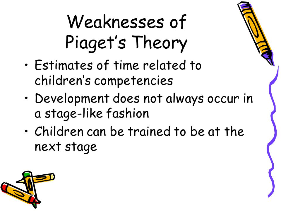 Weaknesses of Piaget's Theory Estimates of time related to children's competencies Development does not always occur in a stage-like fashion Children can be trained to be at the next stage