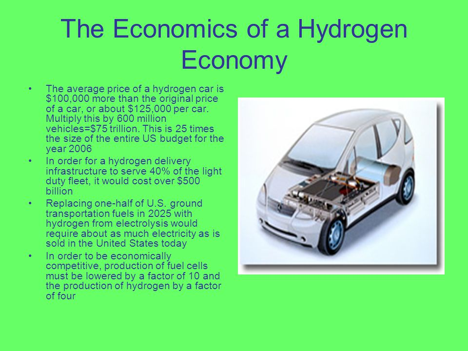 The Economics of a Hydrogen Economy The average price of a hydrogen car is $100,000 more than the original price of a car, or about $125,000 per car.