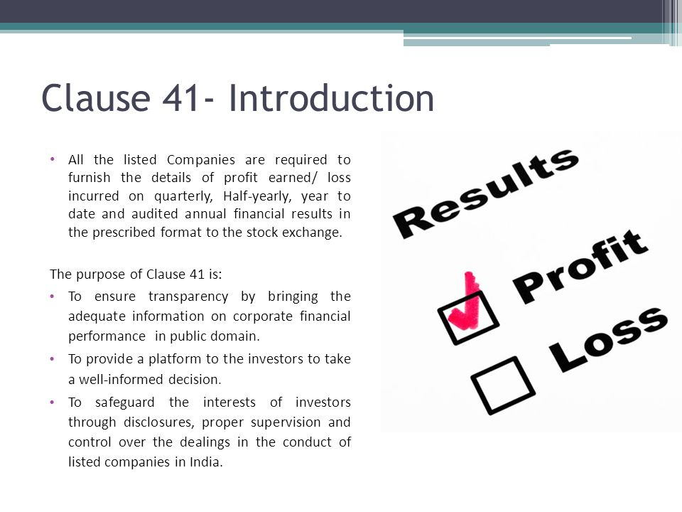 Clause 41 Of The Listing Agreement Prepared By Tarang Doshi M V
