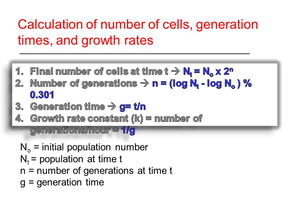 Calculation of number of cells, generation times, and growth rates N o = initial population number N t = population at time t n = number of generations at time t g = generation time