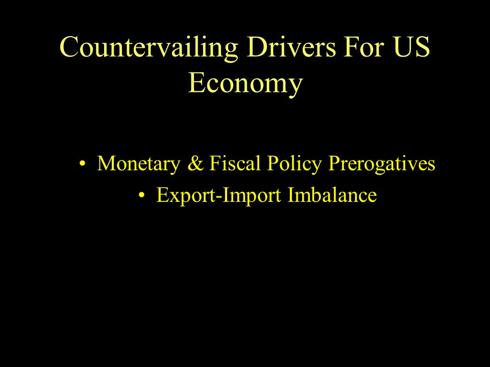 Countervailing Drivers For US Economy Monetary & Fiscal Policy Prerogatives Export-Import Imbalance