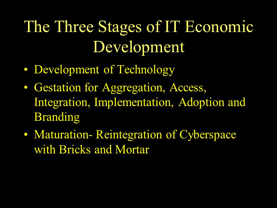 The Three Stages of IT Economic Development Development of Technology Gestation for Aggregation, Access, Integration, Implementation, Adoption and Branding Maturation- Reintegration of Cyberspace with Bricks and Mortar