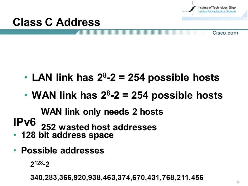 888 Class C Address LAN link has = 254 possible hosts WAN link has = 254 possible hosts WAN link only needs 2 hosts 252 wasted host addresses IPv6 128 bit address space Possible addresses ,283,366,920,938,463,374,670,431,768,211,456