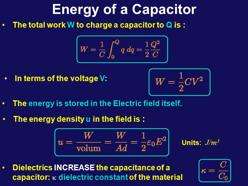 Capacitors in Parallel V a b Q2Q2 Q1Q1  V a b Q  C = C 1 + C 2 Capacitors in Series ab  +Q-Q ab +Q-Q 