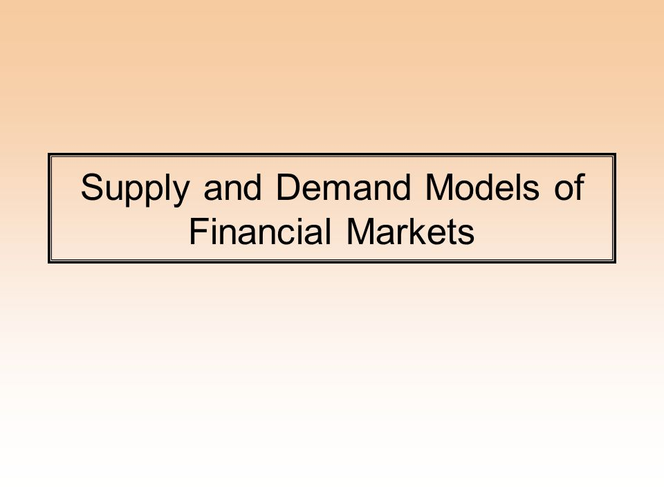 Supply and Demand Models of Financial Markets