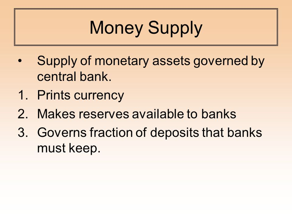 Money Supply Supply of monetary assets governed by central bank.