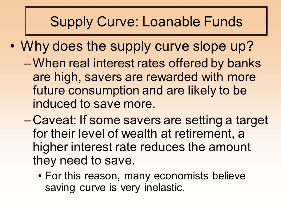 Supply Curve: Loanable Funds Why does the supply curve slope up.