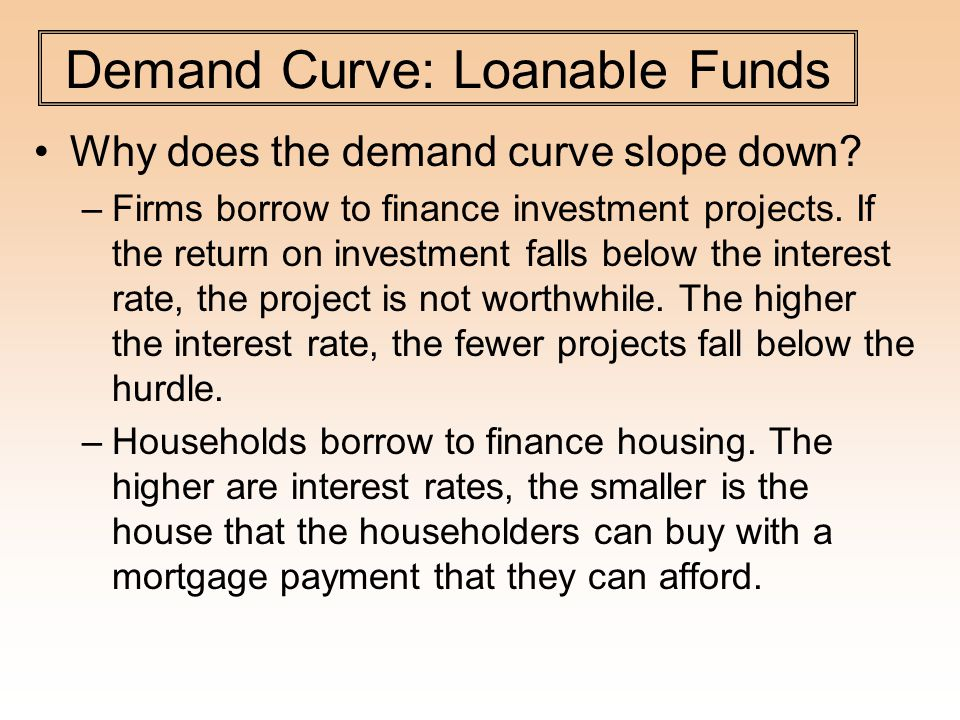 Demand Curve: Loanable Funds Why does the demand curve slope down.