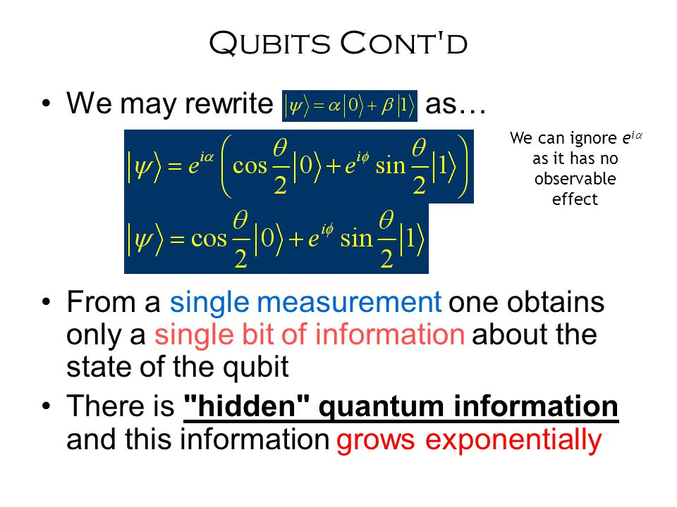 Qubits Cont d We may rewrite as… From a single measurement one obtains only a single bit of information about the state of the qubit There is hidden quantum information and this information grows exponentially We can ignore e i  as it has no observable effect