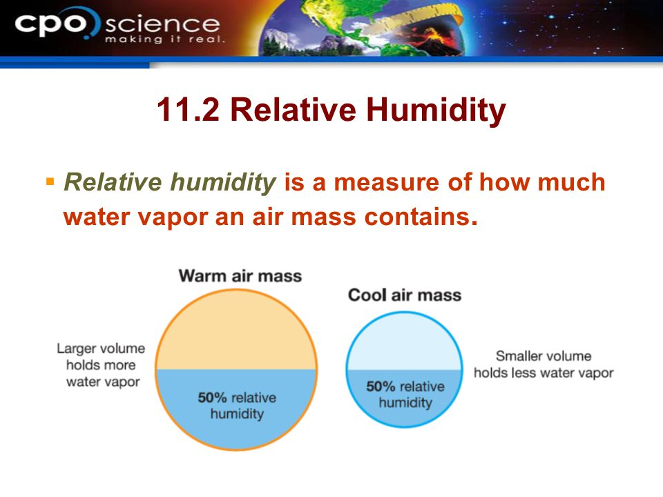 11.2 Relative Humidity  Relative humidity is a measure of how much water vapor an air mass contains.