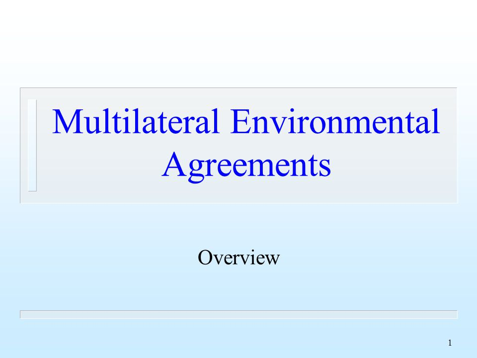 1 Multilateral Environmental Agreements Overview
