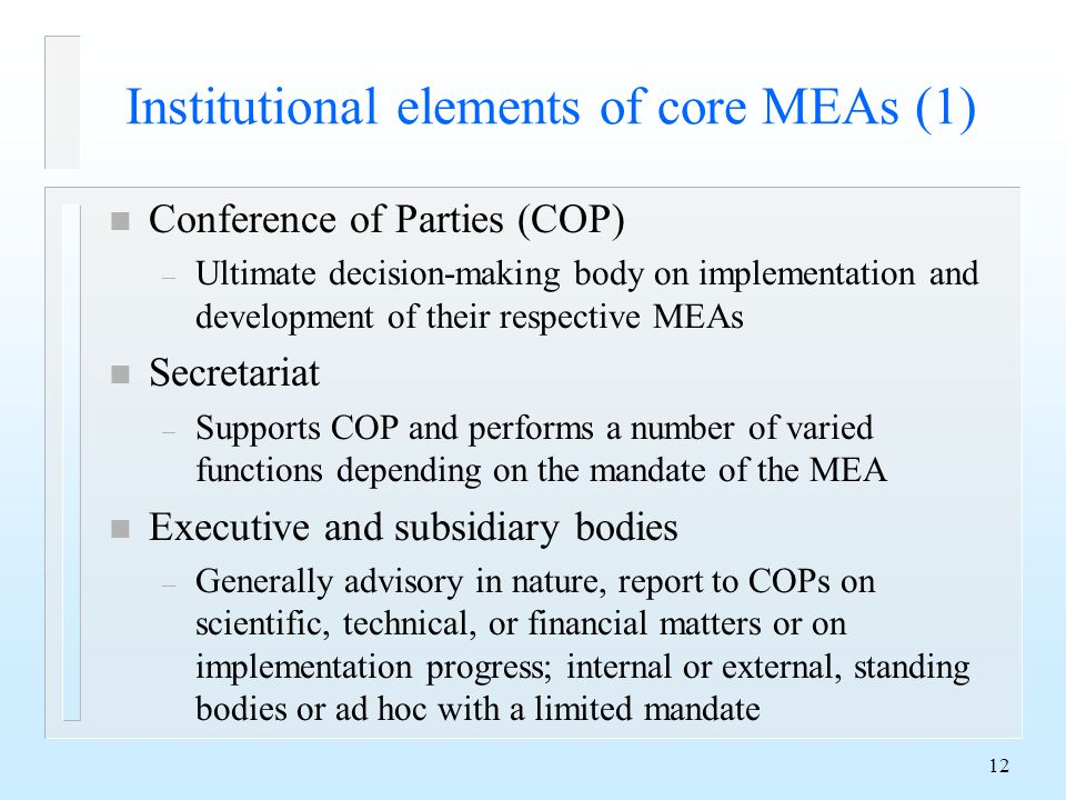 12 Institutional elements of core MEAs (1) n Conference of Parties (COP) – Ultimate decision-making body on implementation and development of their respective MEAs n Secretariat – Supports COP and performs a number of varied functions depending on the mandate of the MEA n Executive and subsidiary bodies – Generally advisory in nature, report to COPs on scientific, technical, or financial matters or on implementation progress; internal or external, standing bodies or ad hoc with a limited mandate