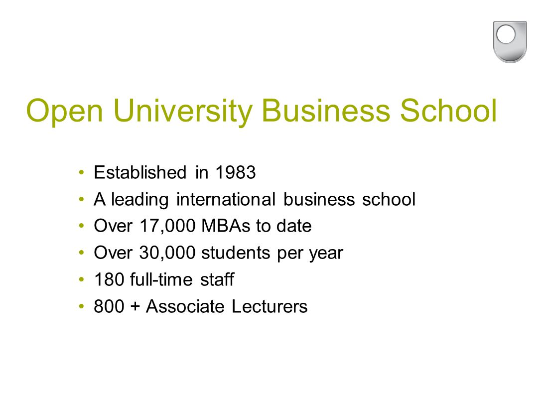 Established in 1983 A leading international business school Over 17,000 MBAs to date Over 30,000 students per year 180 full-time staff Associate Lecturers