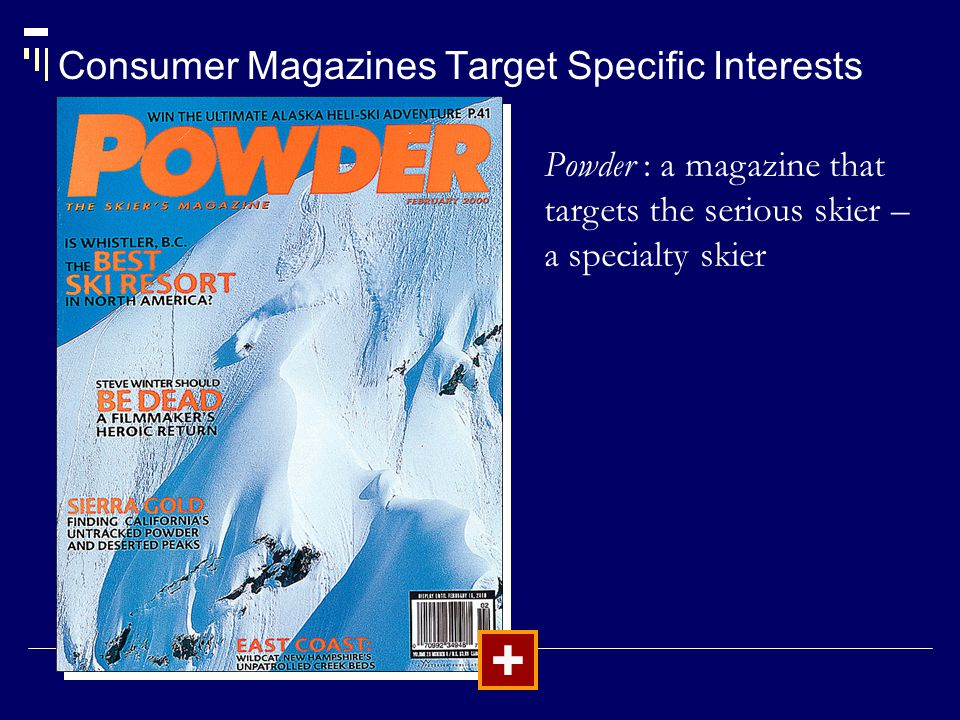 Consumer Magazines Target Specific Interests + Powder : a magazine that targets the serious skier – a specialty skier