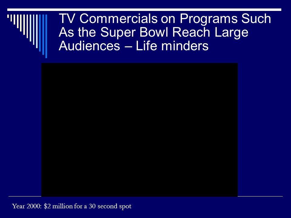 TV Commercials on Programs Such As the Super Bowl Reach Large Audiences – Life minders Year 2000: $2 million for a 30 second spot