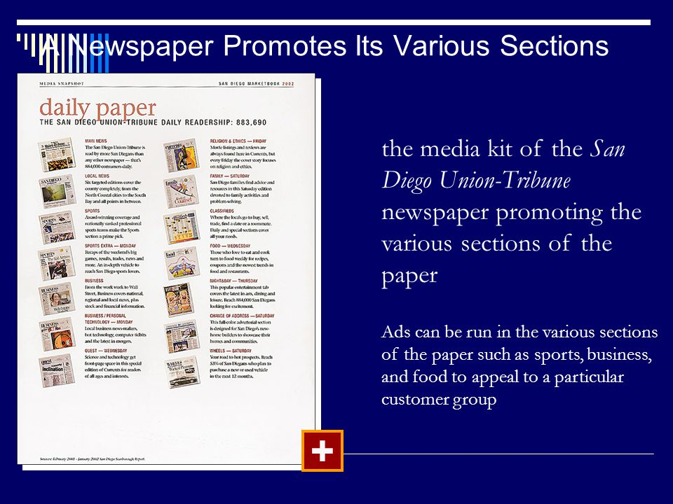 A Newspaper Promotes Its Various Sections + the media kit of the San Diego Union-Tribune newspaper promoting the various sections of the paper Ads can be run in the various sections of the paper such as sports, business, and food to appeal to a particular customer group