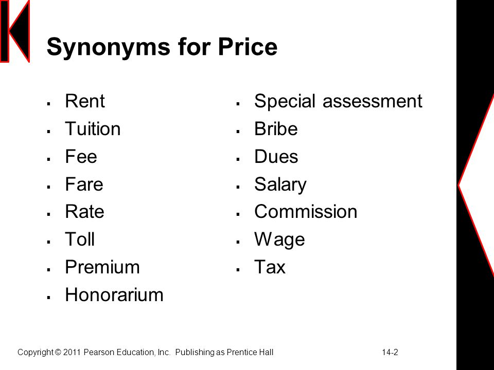 14 Developing Pricing Strategies And Programs 1 Synonyms For Price