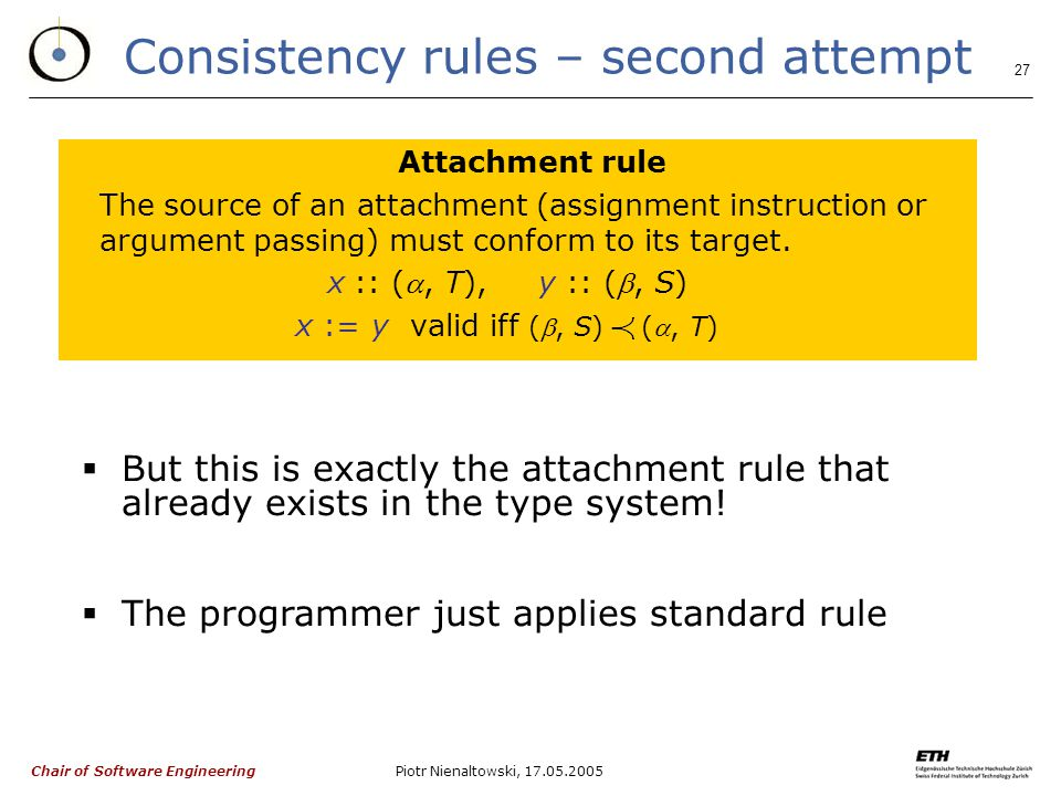 Chair of Software Engineering Piotr Nienaltowski, Consistency rules – second attempt Attachment rule The source of an attachment (assignment instruction or argument passing) must conform to its target.