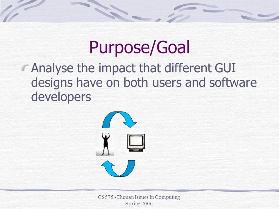 CS575 - Human Issues in Computing Spring 2006 Purpose/Goal Analyse the impact that different GUI designs have on both users and software developers