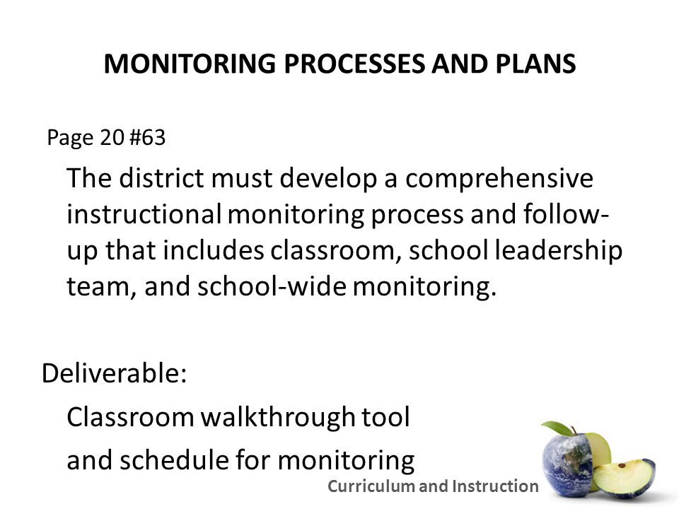 MONITORING PROCESSES AND PLANS Page 20 #63 The district must develop a comprehensive instructional monitoring process and follow- up that includes classroom, school leadership team, and school-wide monitoring.