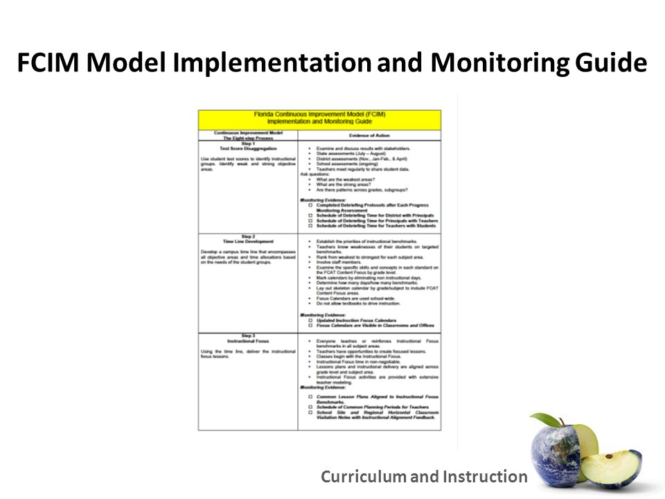 FCIM Model Implementation and Monitoring Guide Curriculum and Instruction