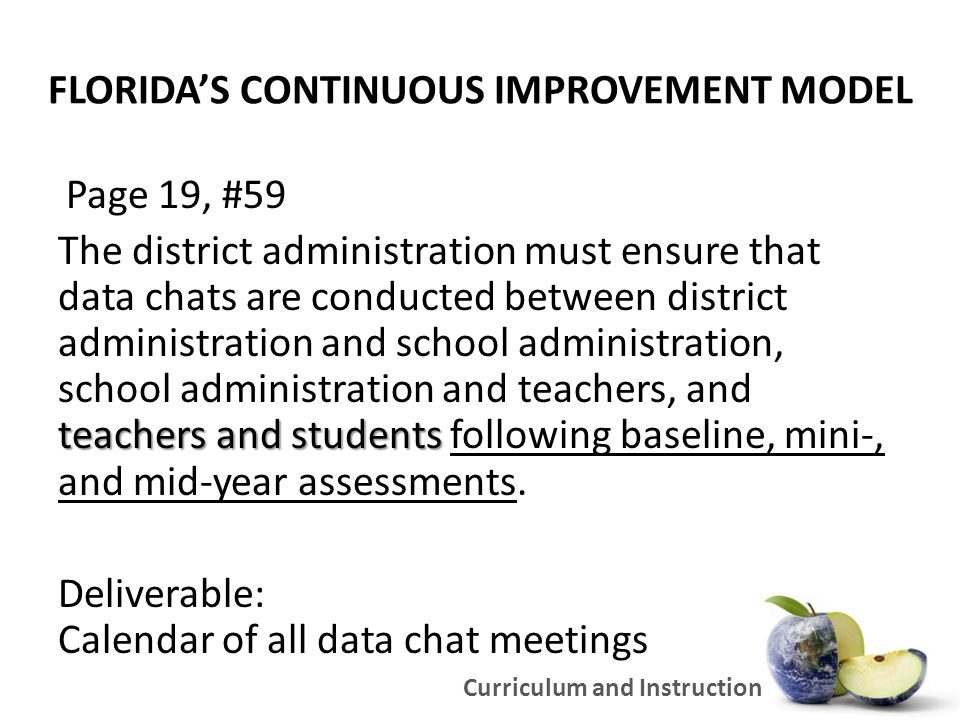 FLORIDA'S CONTINUOUS IMPROVEMENT MODEL Page 19, #59 teachers and students The district administration must ensure that data chats are conducted between district administration and school administration, school administration and teachers, and teachers and students following baseline, mini-, and mid-year assessments.