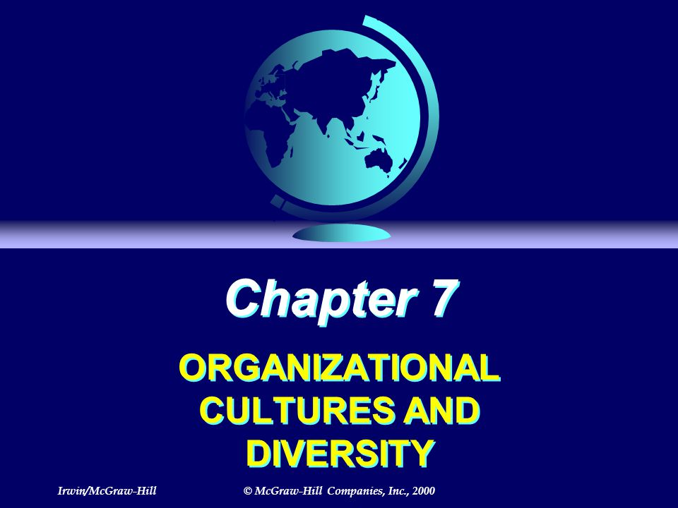 Irwin/McGraw-Hill© McGraw-Hill Companies, Inc., 2000 Chapter 7 ORGANIZATIONAL CULTURES AND DIVERSITY