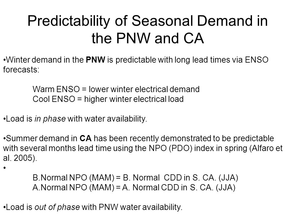 Predictability of Seasonal Demand in the PNW and CA Winter demand in the PNW is predictable with long lead times via ENSO forecasts: Warm ENSO = lower winter electrical demand Cool ENSO = higher winter electrical load Load is in phase with water availability.