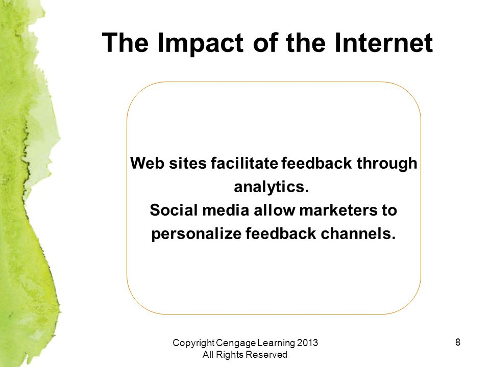 8 The Impact of the Internet Web sites facilitate feedback through analytics.
