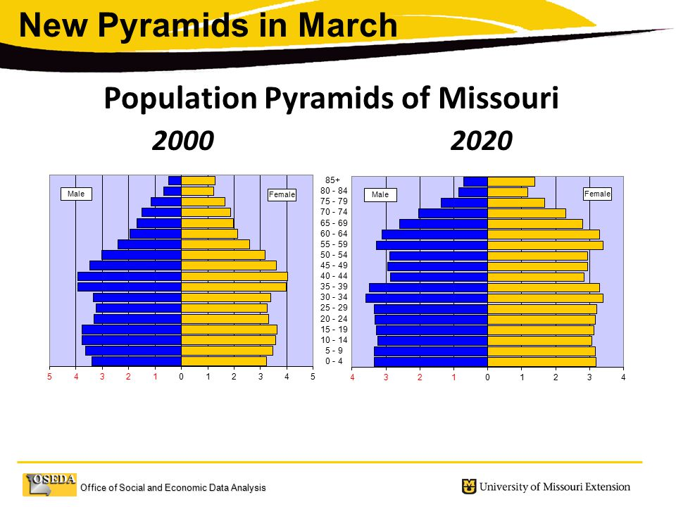 Office of Social and Economic Data Analysis Male Female Male Female Population Pyramids of Missouri Percent of Total Population New Pyramids in March