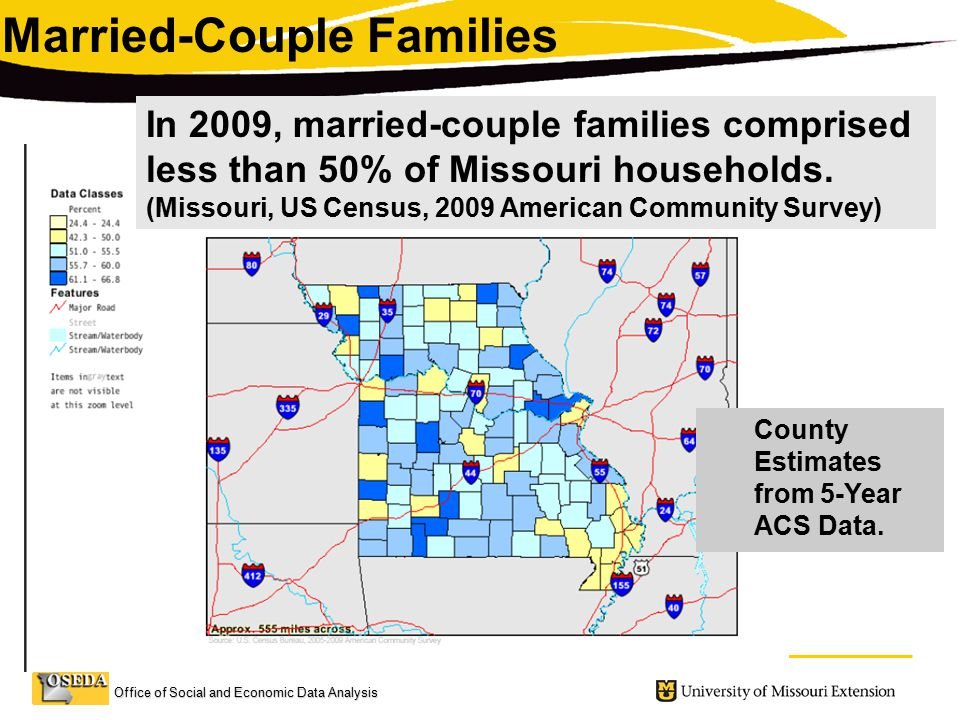 Office of Social and Economic Data Analysis Married-Couple Families In 2009, married-couple families comprised less than 50% of Missouri households.