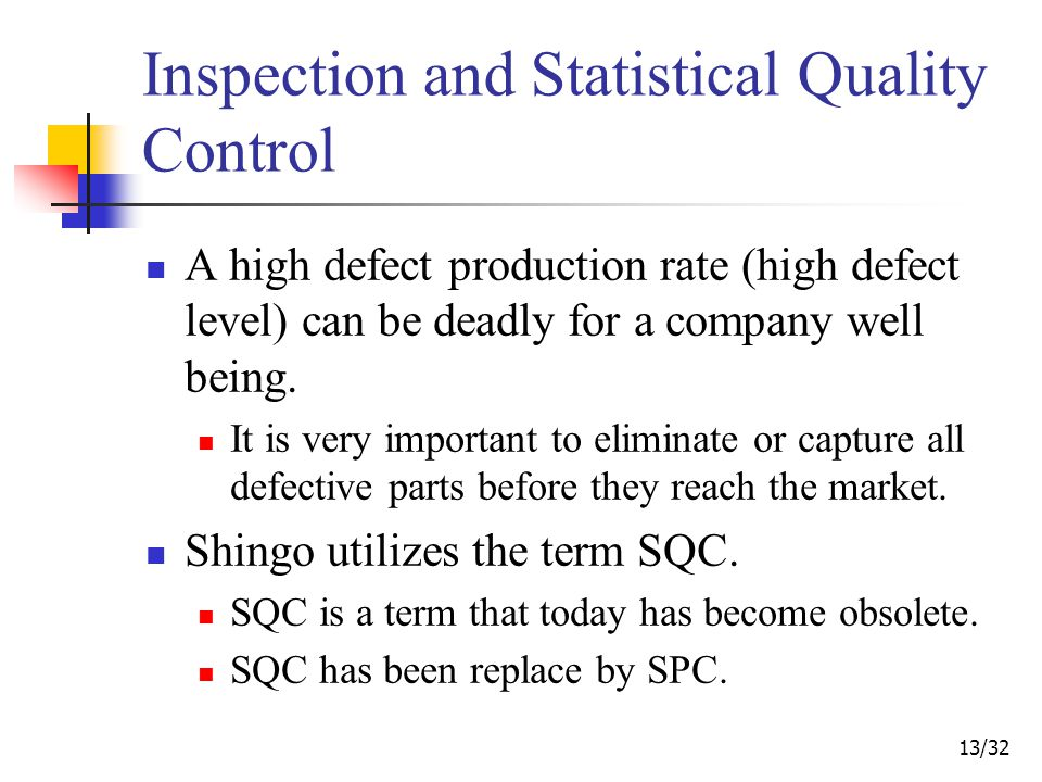 13/32 Inspection and Statistical Quality Control A high defect production rate (high defect level) can be deadly for a company well being.