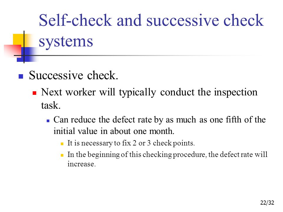 22/32 Self-check and successive check systems Successive check.