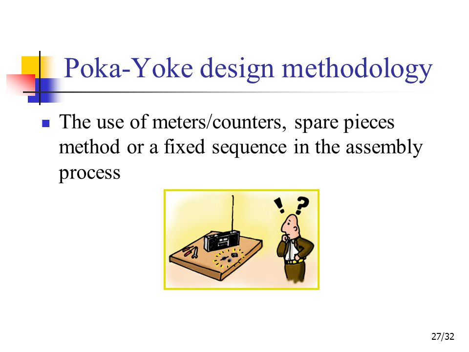 27/32 Poka-Yoke design methodology The use of meters/counters, spare pieces method or a fixed sequence in the assembly process