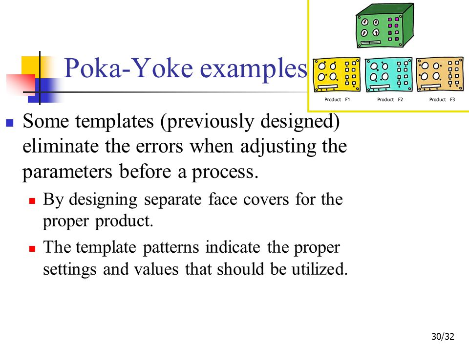 30/32 Poka-Yoke examples Some templates (previously designed) eliminate the errors when adjusting the parameters before a process.