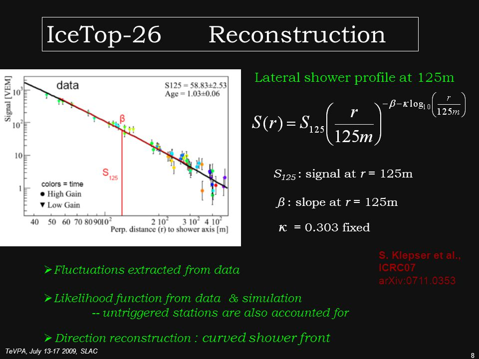 TeVPA, July , SLAC 8 IceTop-26 Reconstruction Lateral shower profile at 125m S 125 : signal at r = 125m β : slope at r = 125m κ = fixed  Fluctuations extracted from data  Likelihood function from data & simulation -- untriggered stations are also accounted for  Direction reconstruction : curved shower front S.
