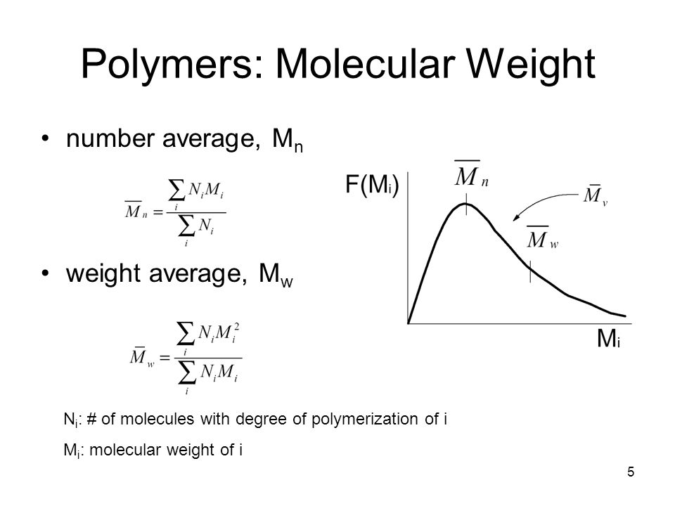 5 Polymers: Molecular Weight number average, M n weight average, M w N i : # of molecules with degree of polymerization of i M i : molecular weight of i