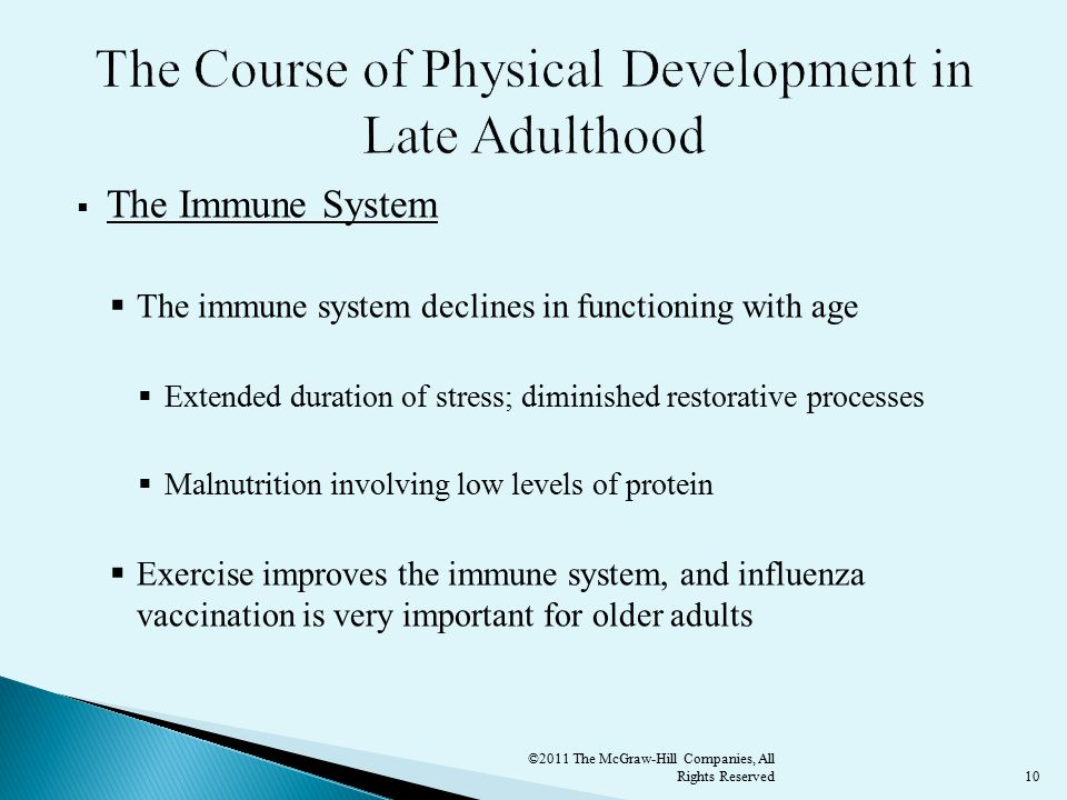 10  The Immune System  The immune system declines in functioning with age  Extended duration of stress; diminished restorative processes  Malnutrition involving low levels of protein  Exercise improves the immune system, and influenza vaccination is very important for older adults ©2011 The McGraw-Hill Companies, All Rights Reserved
