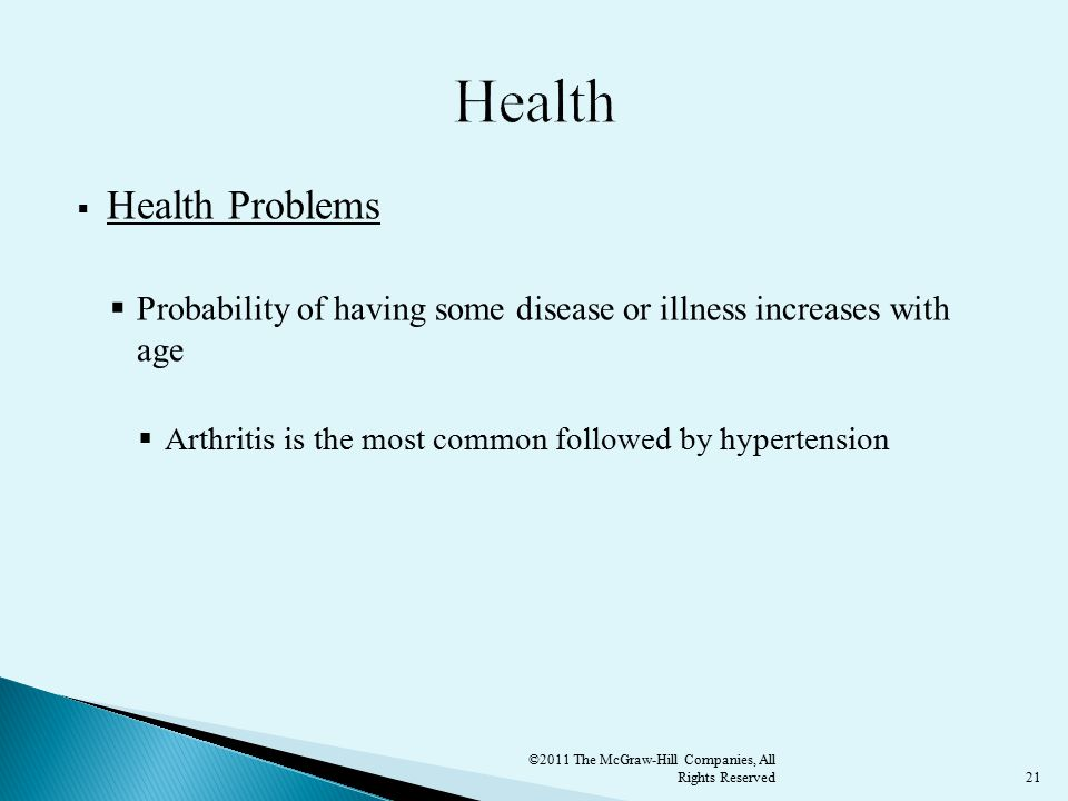 21  Health Problems  Probability of having some disease or illness increases with age  Arthritis is the most common followed by hypertension ©2011 The McGraw-Hill Companies, All Rights Reserved