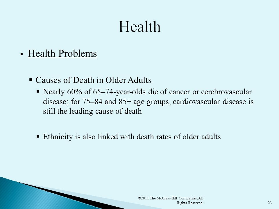 23  Health Problems  Causes of Death in Older Adults  Nearly 60% of 65–74-year-olds die of cancer or cerebrovascular disease; for 75–84 and 85+ age groups, cardiovascular disease is still the leading cause of death  Ethnicity is also linked with death rates of older adults ©2011 The McGraw-Hill Companies, All Rights Reserved