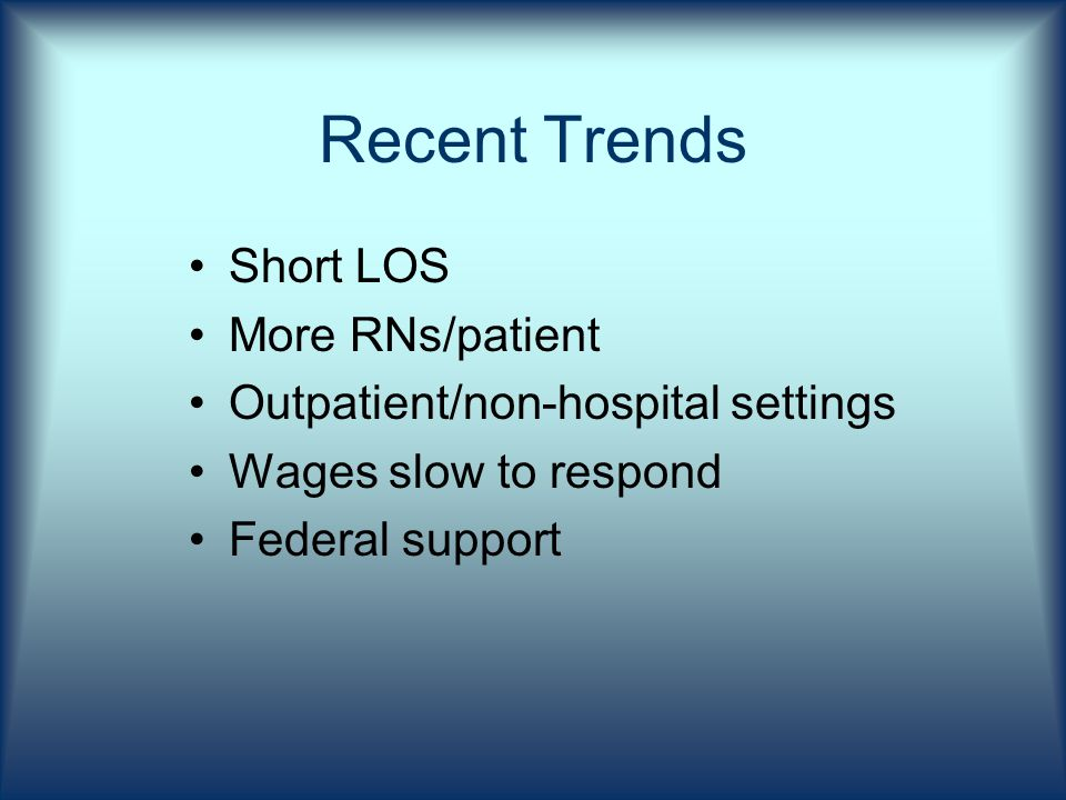 Recent Trends Short LOS More RNs/patient Outpatient/non-hospital settings Wages slow to respond Federal support