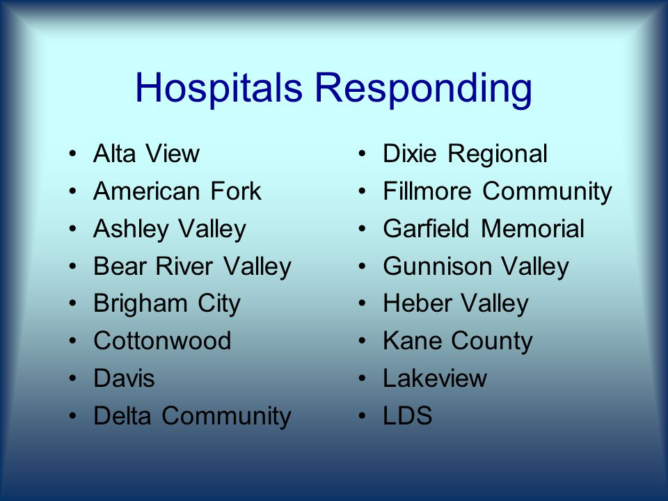 Hospitals Responding Alta View American Fork Ashley Valley Bear River Valley Brigham City Cottonwood Davis Delta Community Dixie Regional Fillmore Community Garfield Memorial Gunnison Valley Heber Valley Kane County Lakeview LDS
