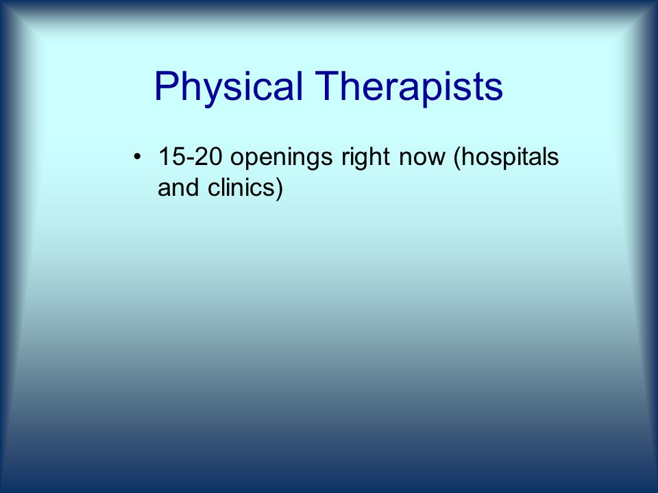 Physical Therapists openings right now (hospitals and clinics)