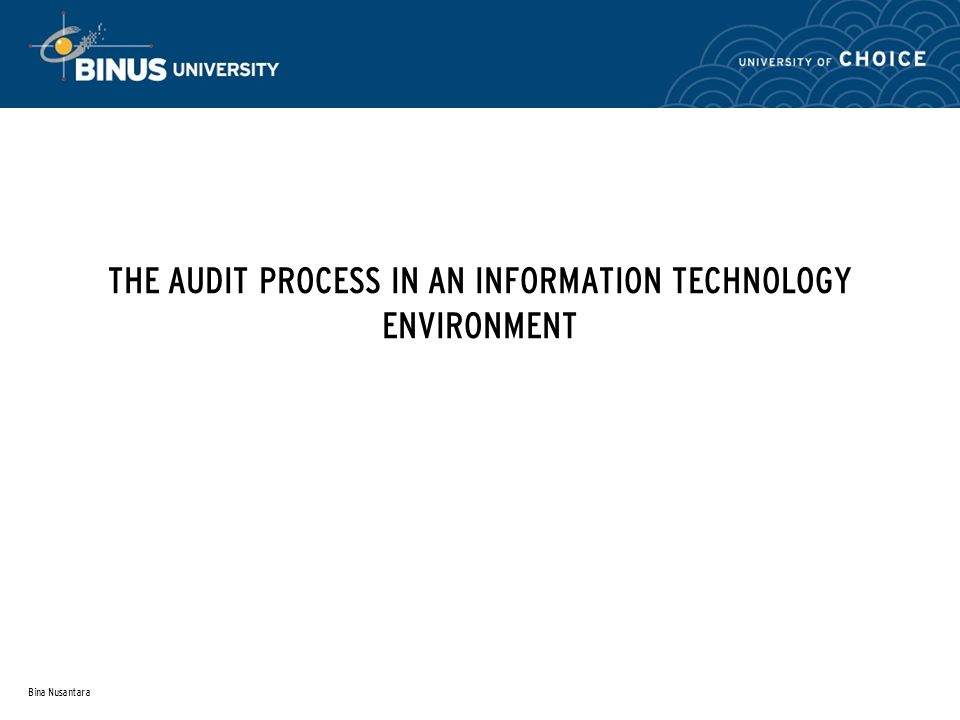 Bina Nusantara THE AUDIT PROCESS IN AN INFORMATION TECHNOLOGY ENVIRONMENT