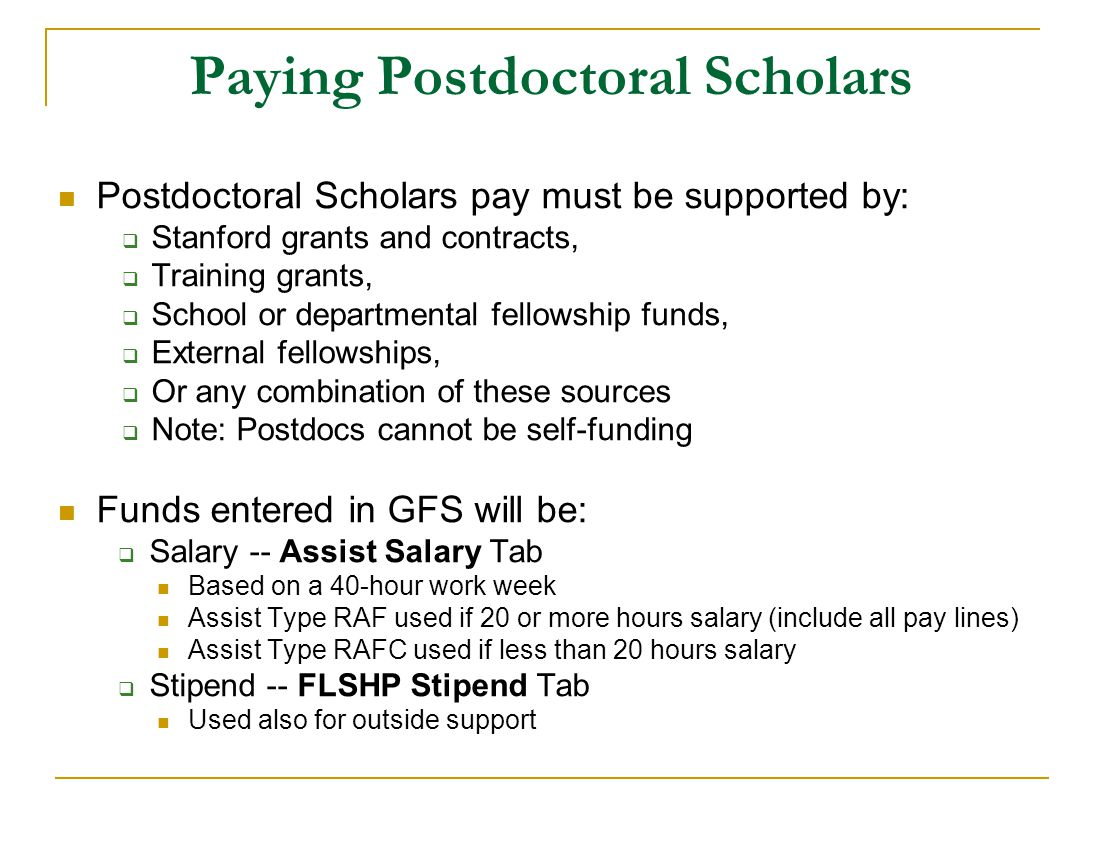 GFS Stipend/Salary Entry & Policy for Postdoctoral Scholar